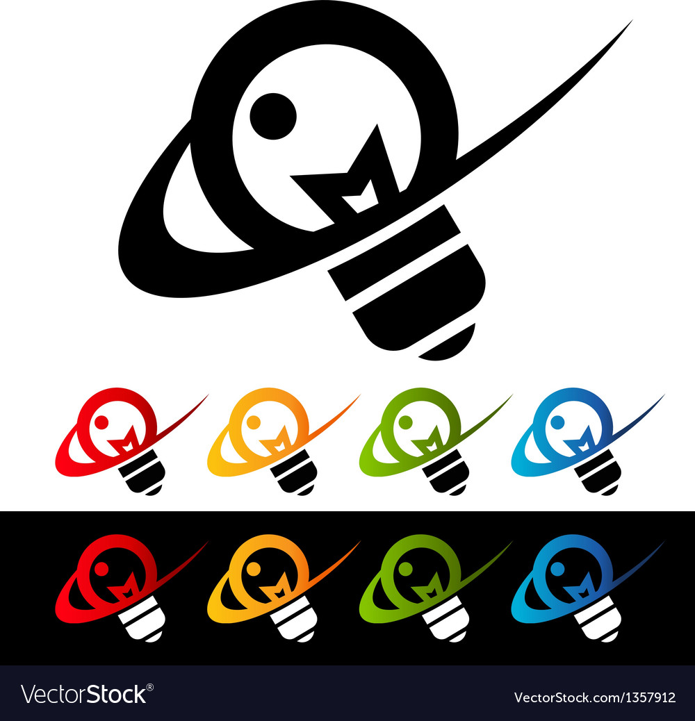 Swoosh light bulb logo icons vector | Price: 1 Credit (USD $1)