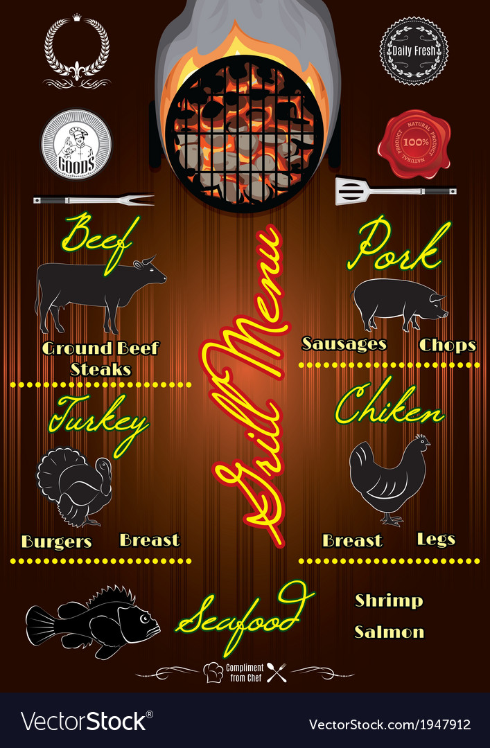 Template for the cover of menu with fire vector   Price: 1 Credit (USD $1)