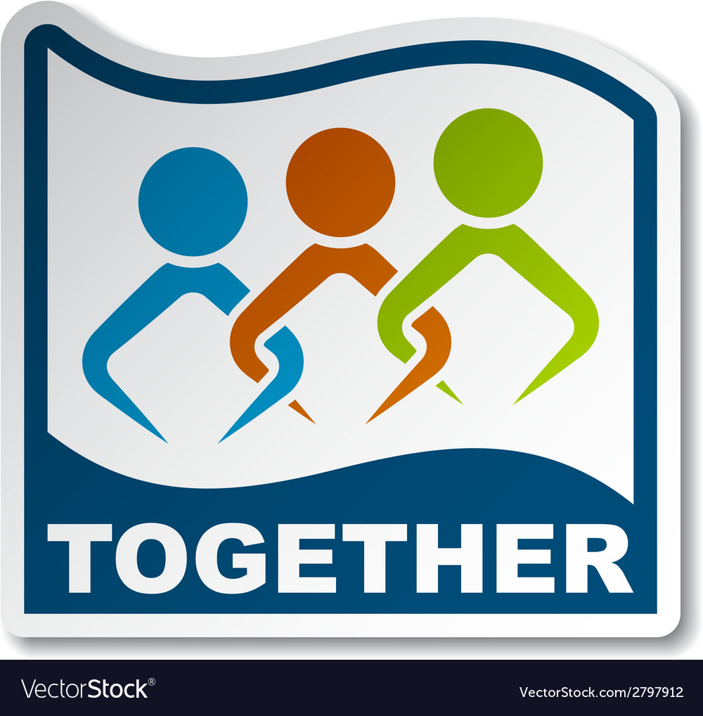 Together joined people sticker vector | Price: 1 Credit (USD $1)
