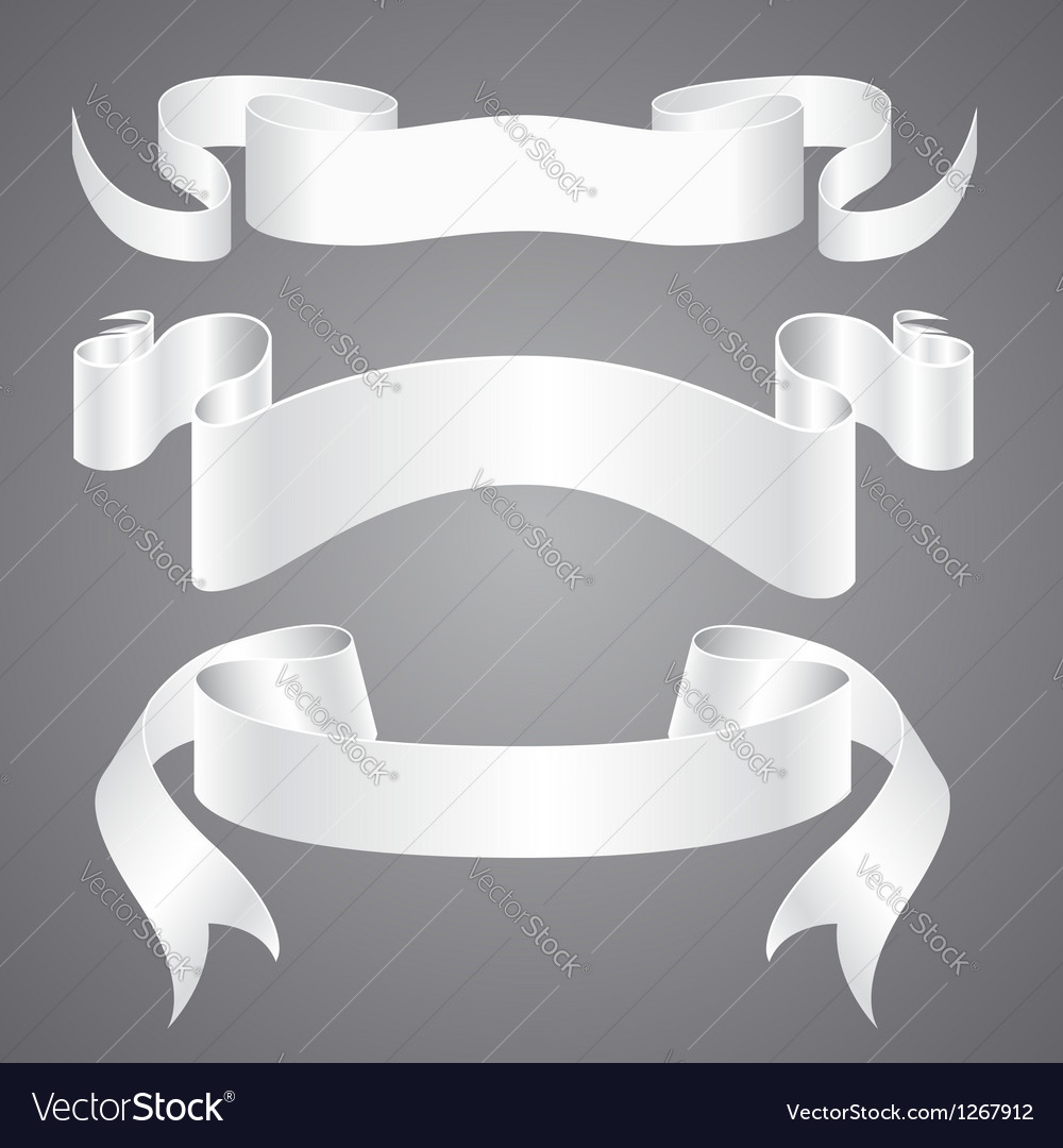 White paper ribbons vector | Price: 1 Credit (USD $1)