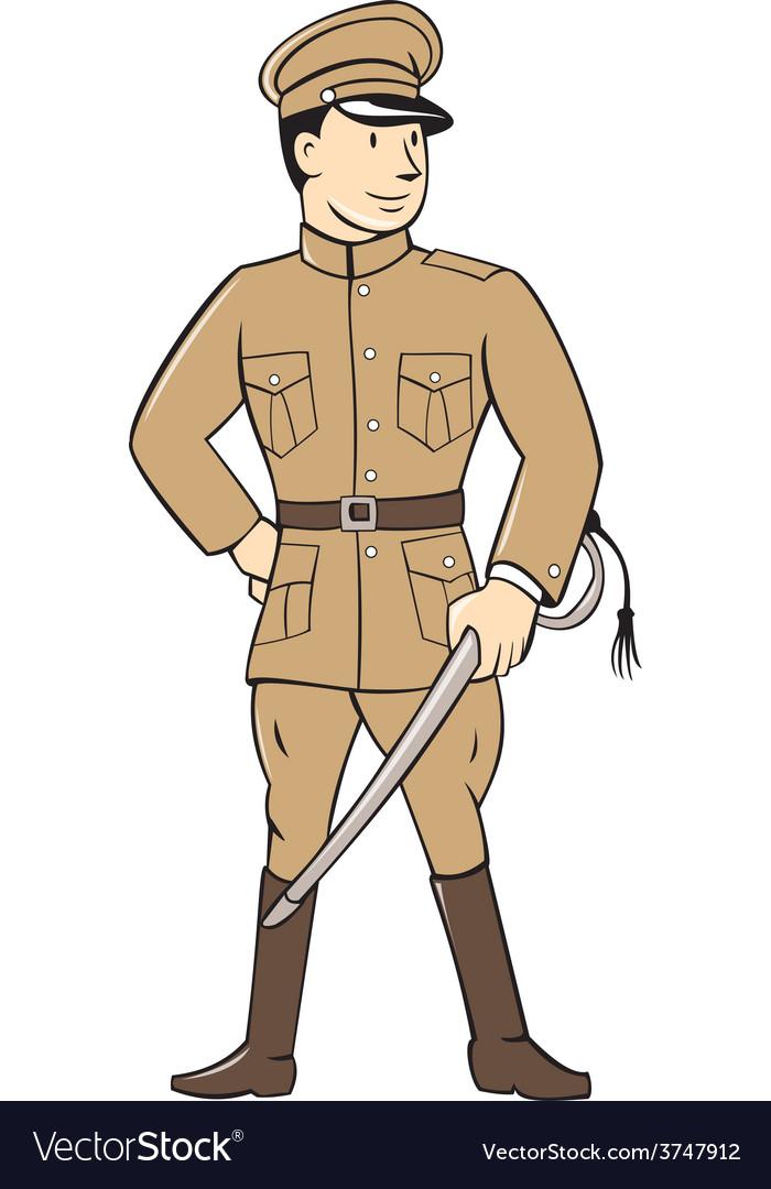 World war one british officer standing cartoon vector | Price: 1 Credit (USD $1)