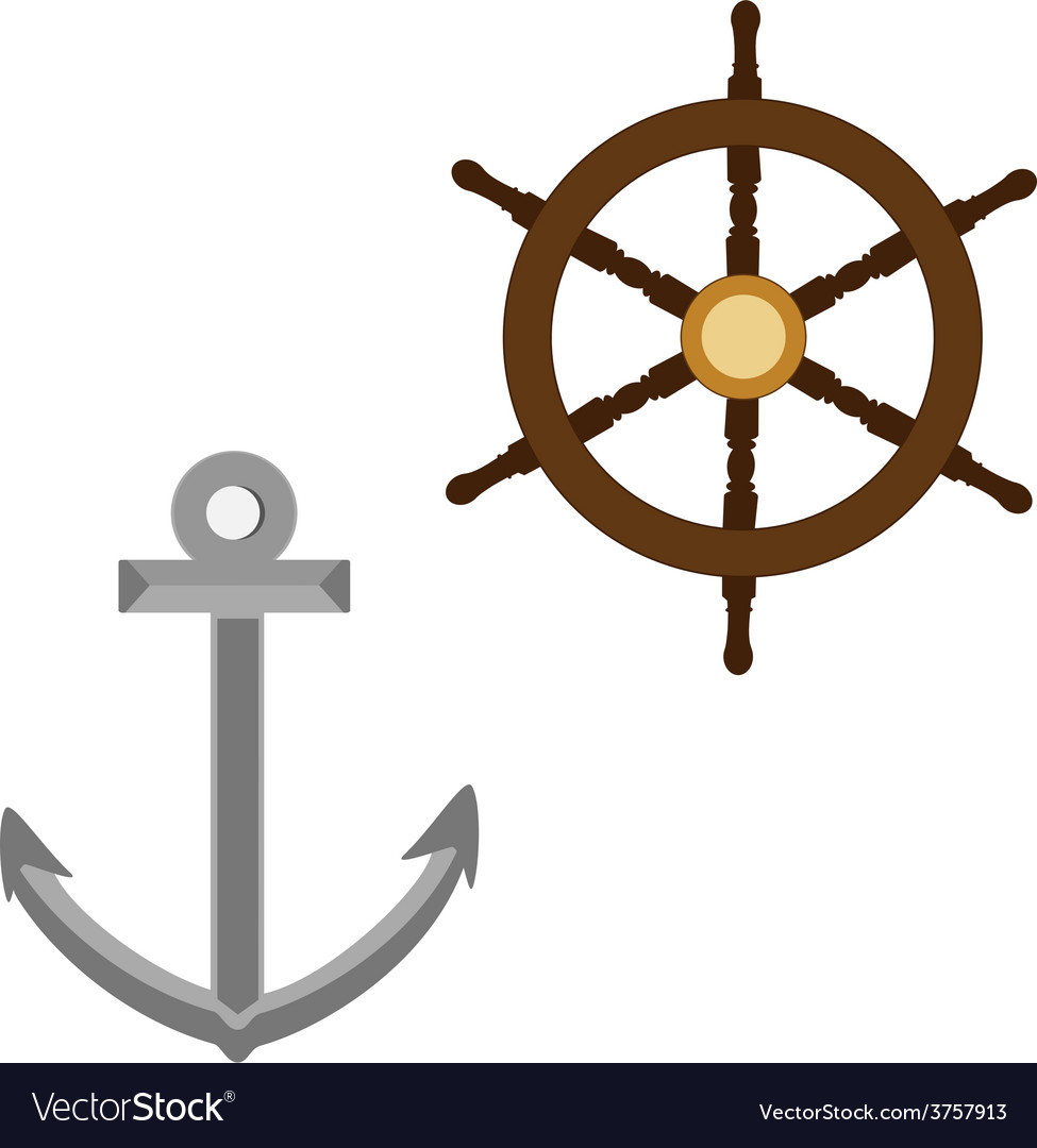 Anchor and wooden wheel vector | Price: 1 Credit (USD $1)