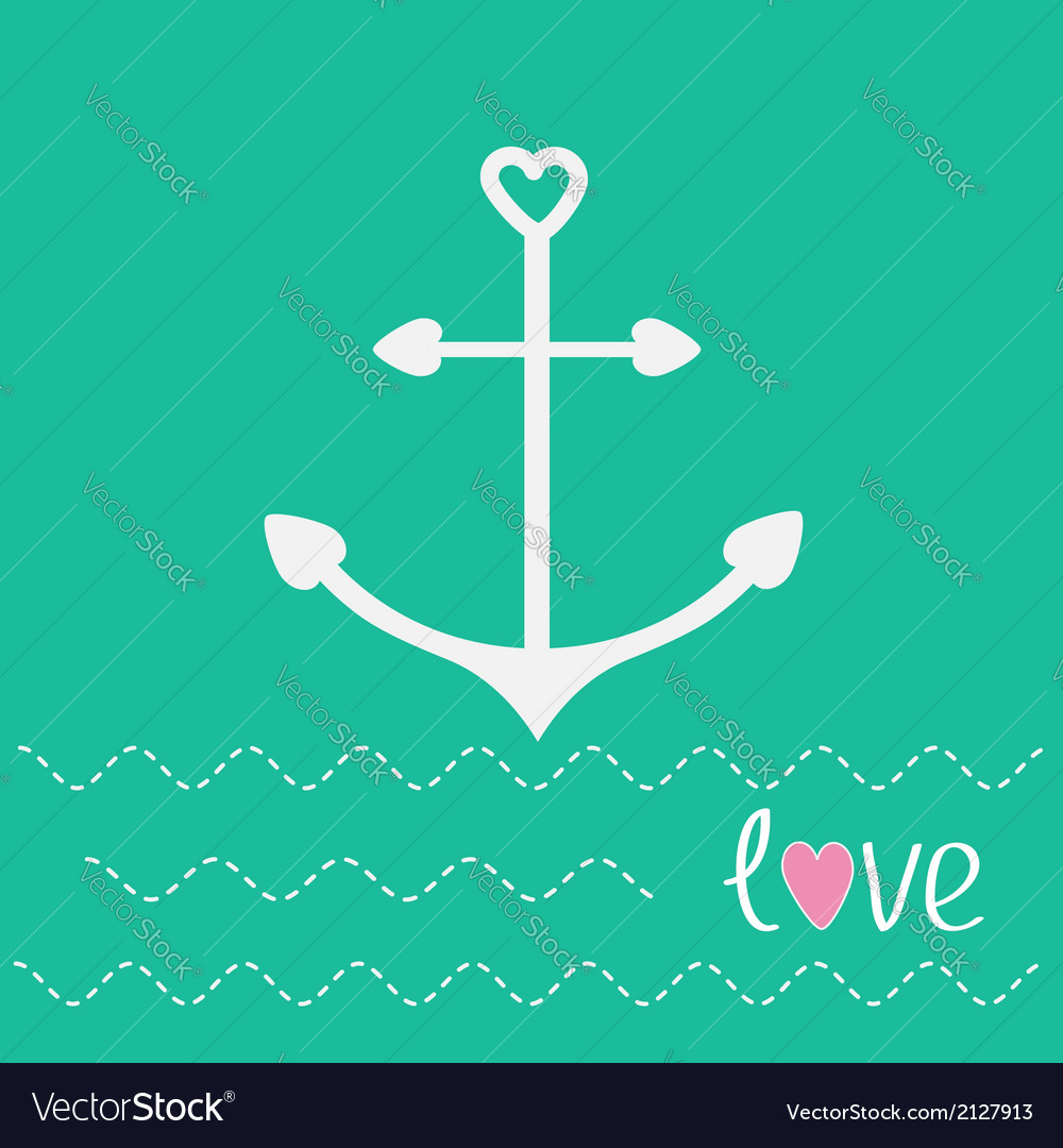 Anchor with shapes of heart and dash line waves lo vector | Price: 1 Credit (USD $1)