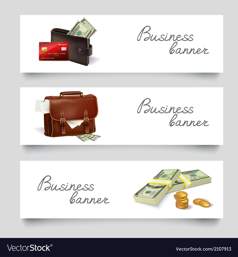 Briefcase money business banners vector | Price: 1 Credit (USD $1)