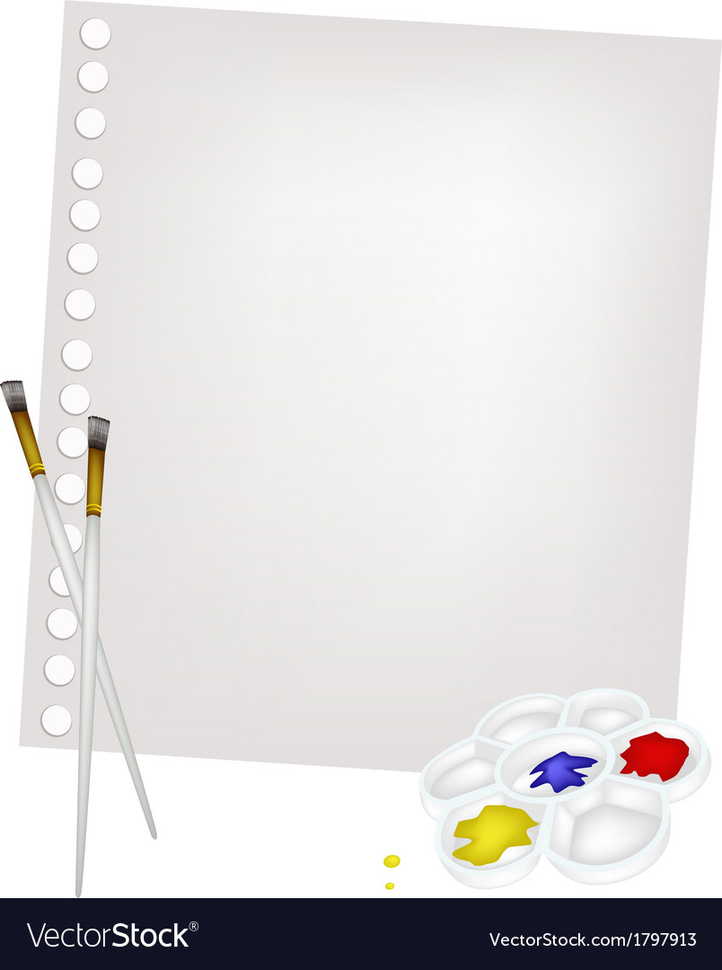 Color paint in palette with brushes and blank page vector   Price: 1 Credit (USD $1)