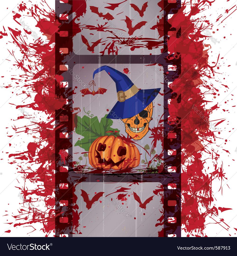 Film strip skull and pumpkin vector   Price: 1 Credit (USD $1)