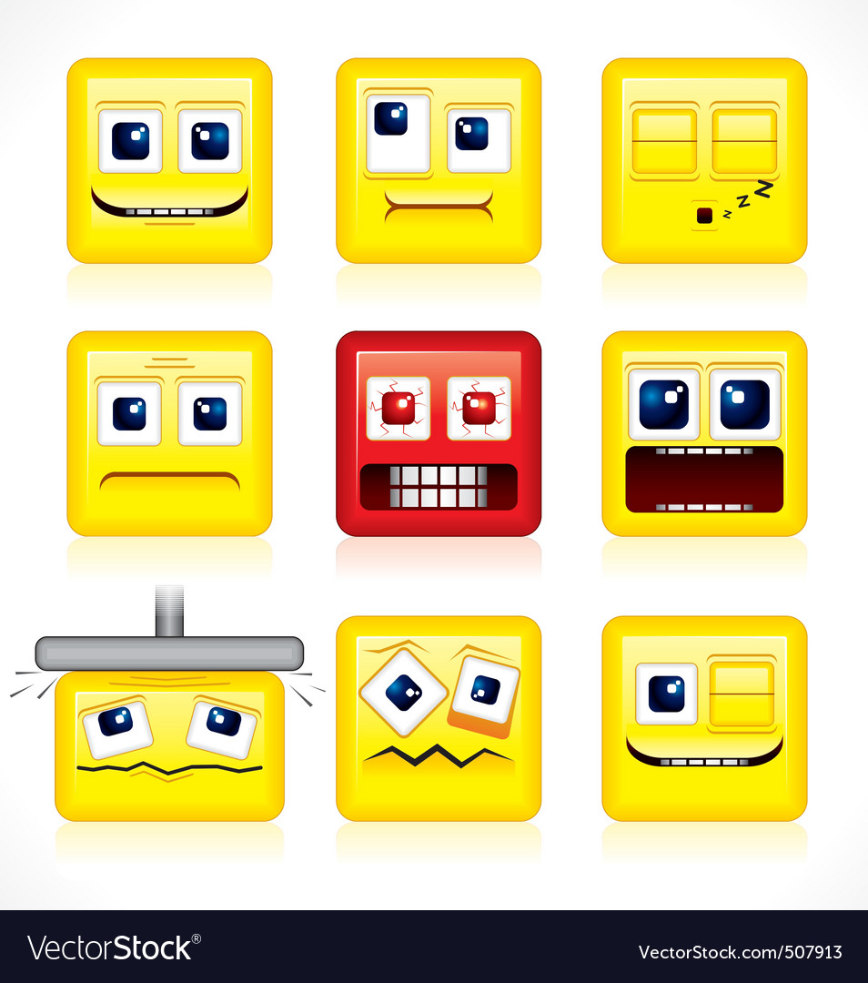 Funny square smiles vector | Price: 1 Credit (USD $1)