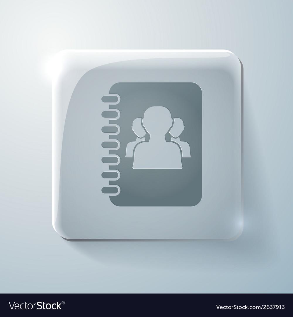 Glass square icon phone address book vector | Price: 1 Credit (USD $1)
