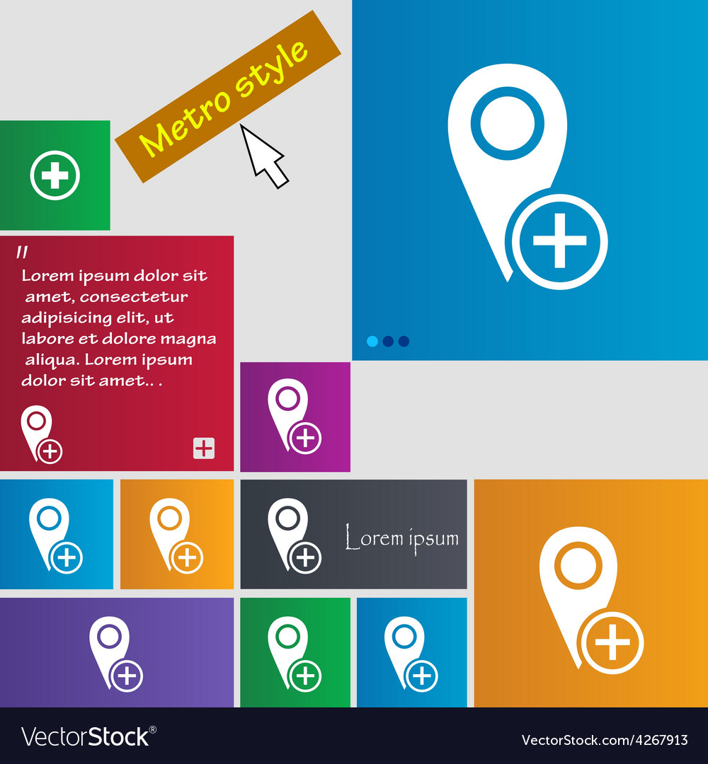 Map pointer icon sign metro style buttons modern vector | Price: 1 Credit (USD $1)