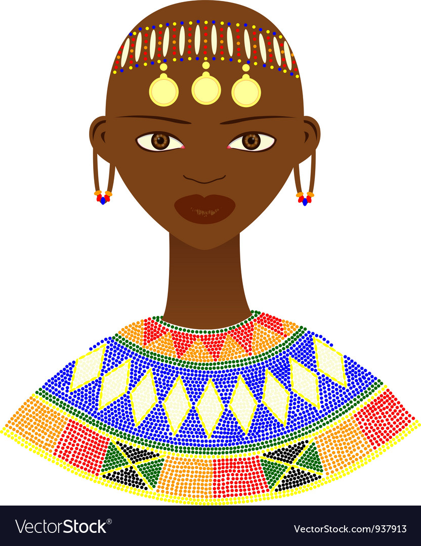 Native african woman with traditional jewelry vector