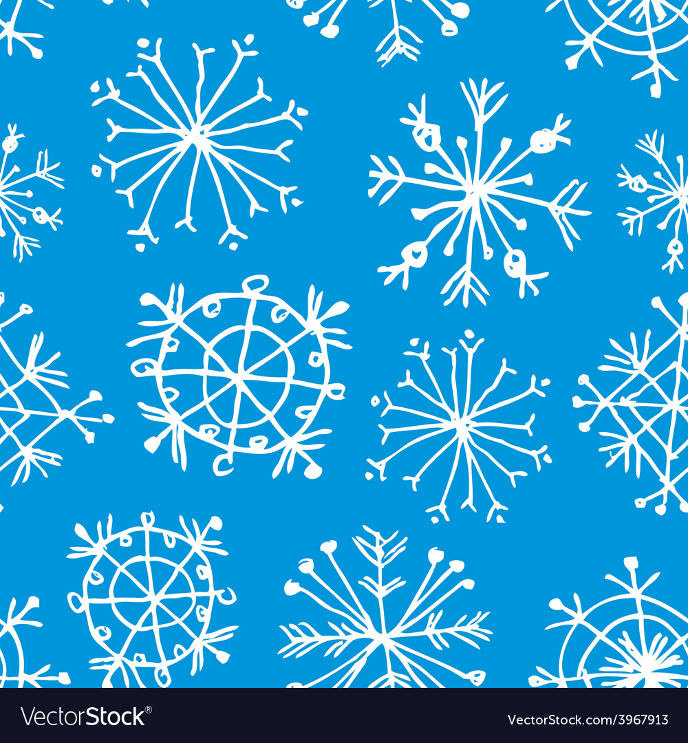 Seamless pattern with snowflakes on light blue vector | Price: 1 Credit (USD $1)