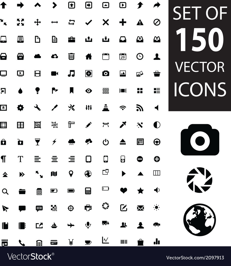 Set of 150 icons vector   Price: 1 Credit (USD $1)