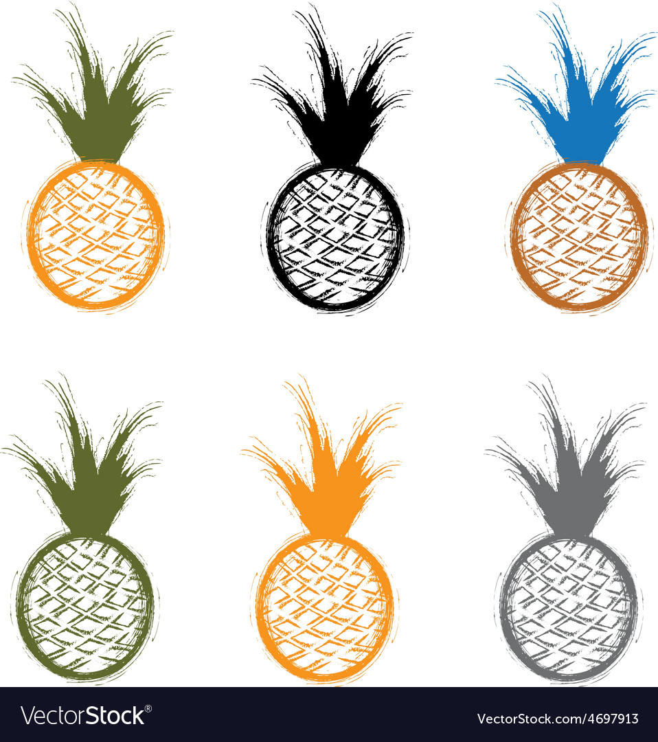 Set of grunge pineapples vector | Price: 1 Credit (USD $1)