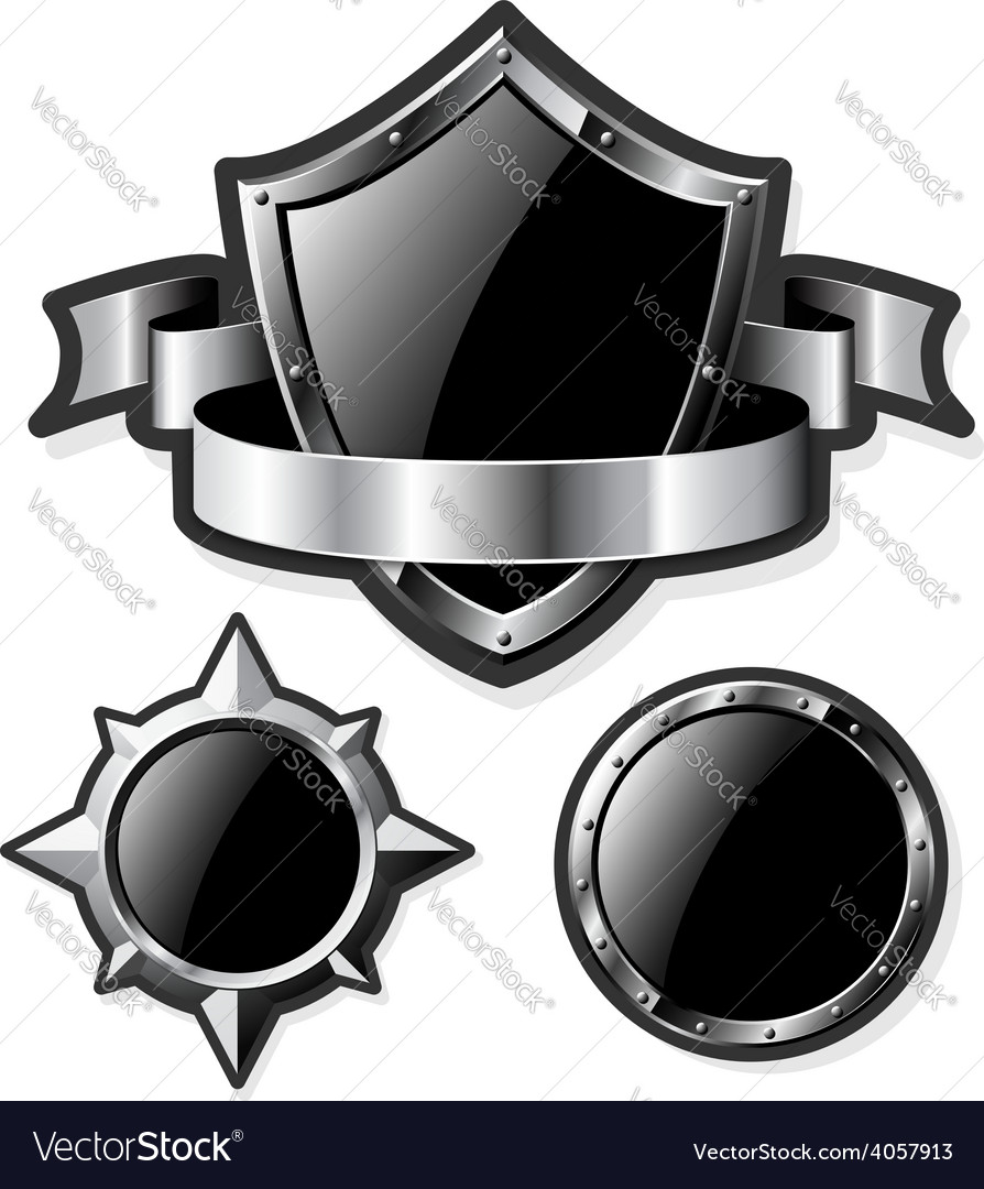 Set of steel glossy shields isolated on white vector | Price: 1 Credit (USD $1)