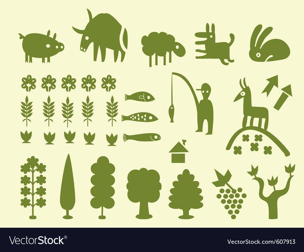 Silhouettes of trees and animals vector | Price: 1 Credit (USD $1)
