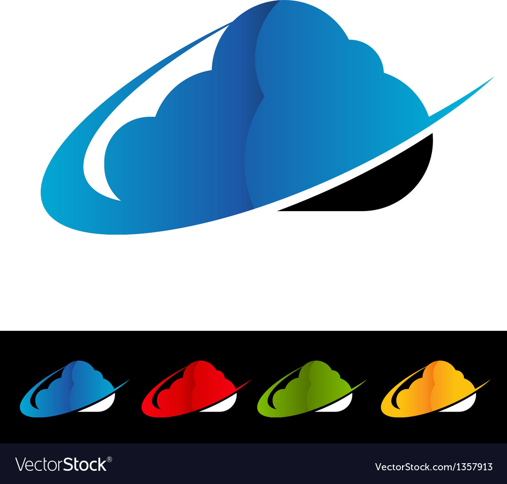 Swoosh cloud computing logo icons vector | Price: 1 Credit (USD $1)