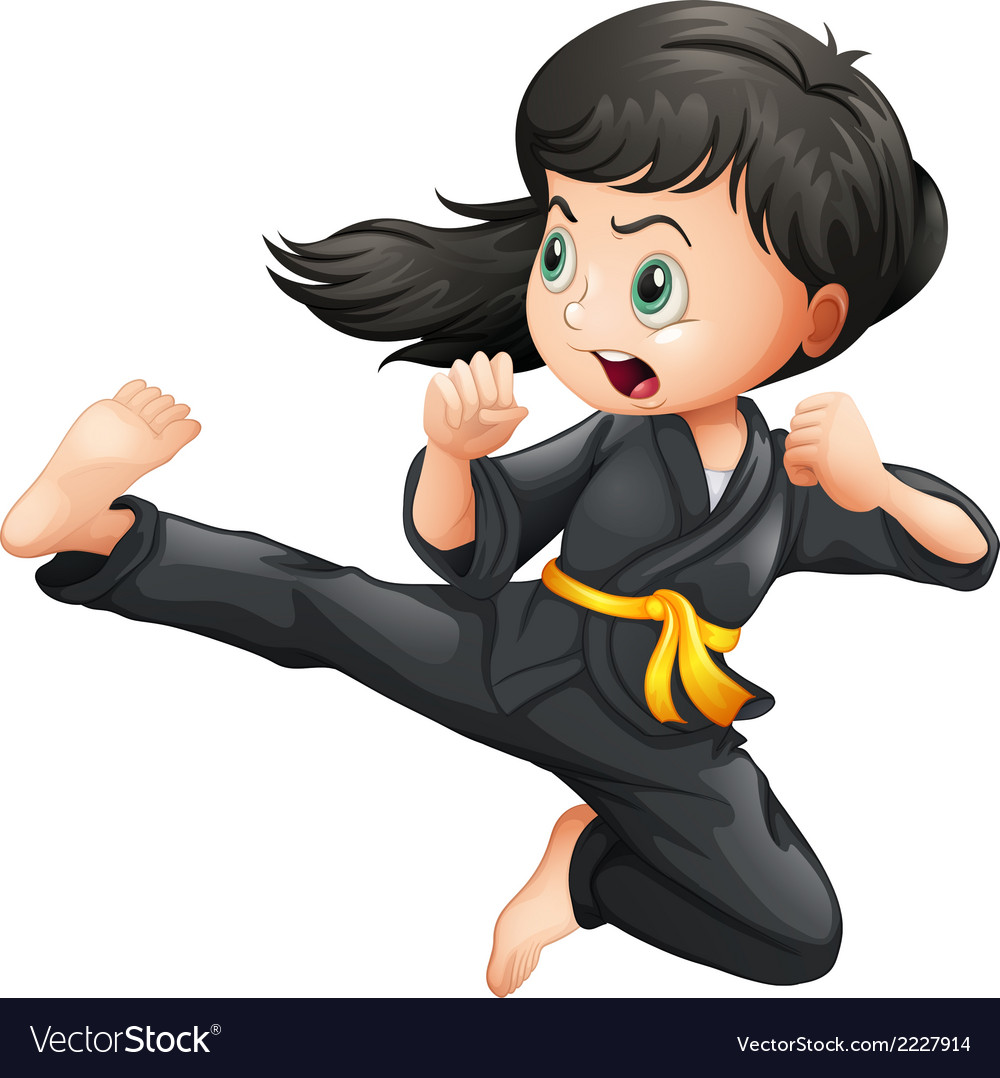 A brave girl doing karate vector | Price: 1 Credit (USD $1)