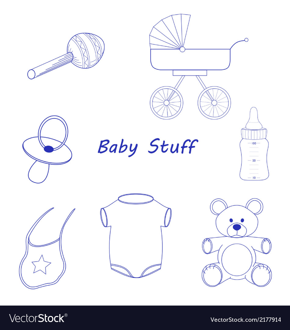 Baby stuff blue line-art vector | Price: 1 Credit (USD $1)