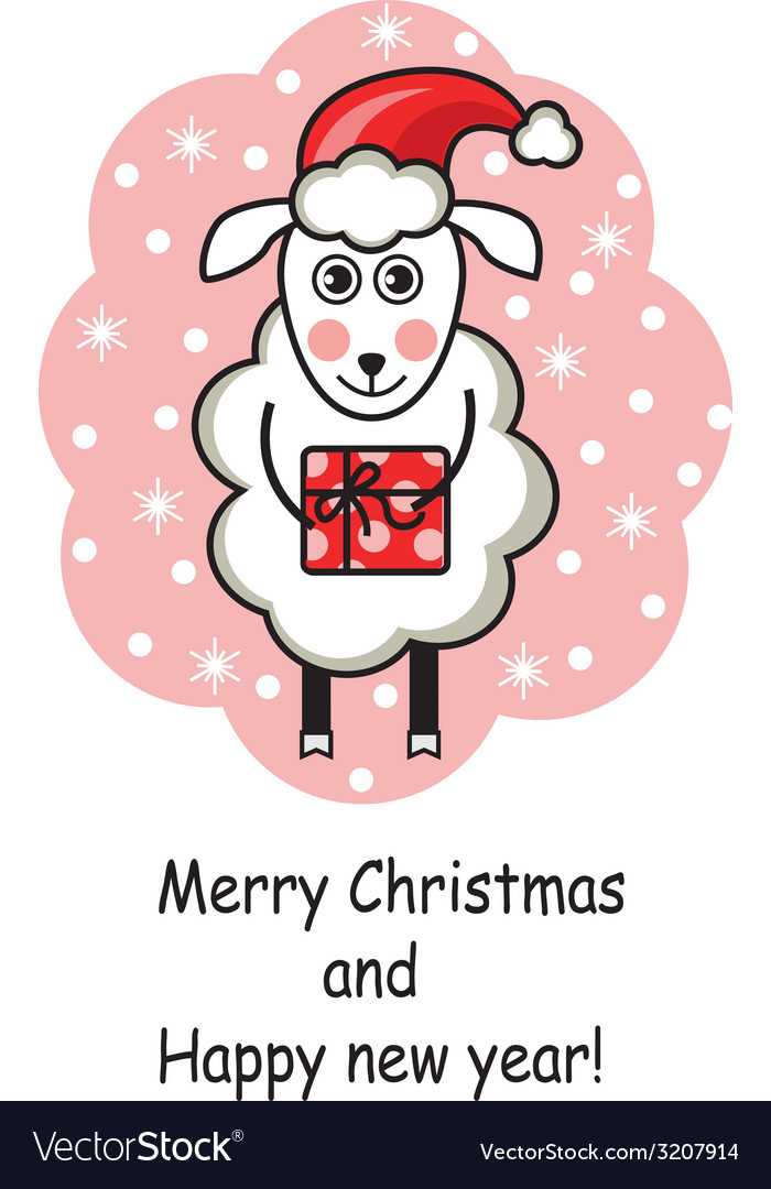 Cartoon sheep holding a gift vector | Price: 1 Credit (USD $1)