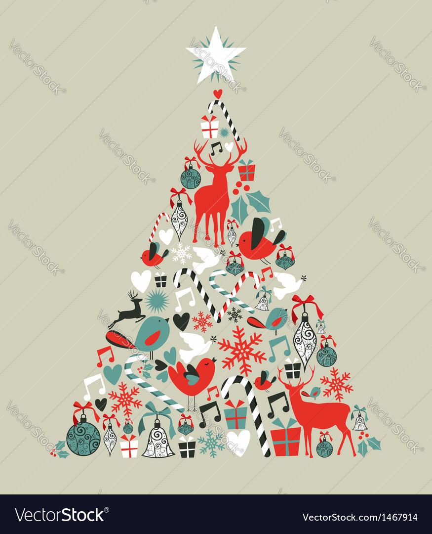 Christmas icons pine tree vector | Price: 1 Credit (USD $1)