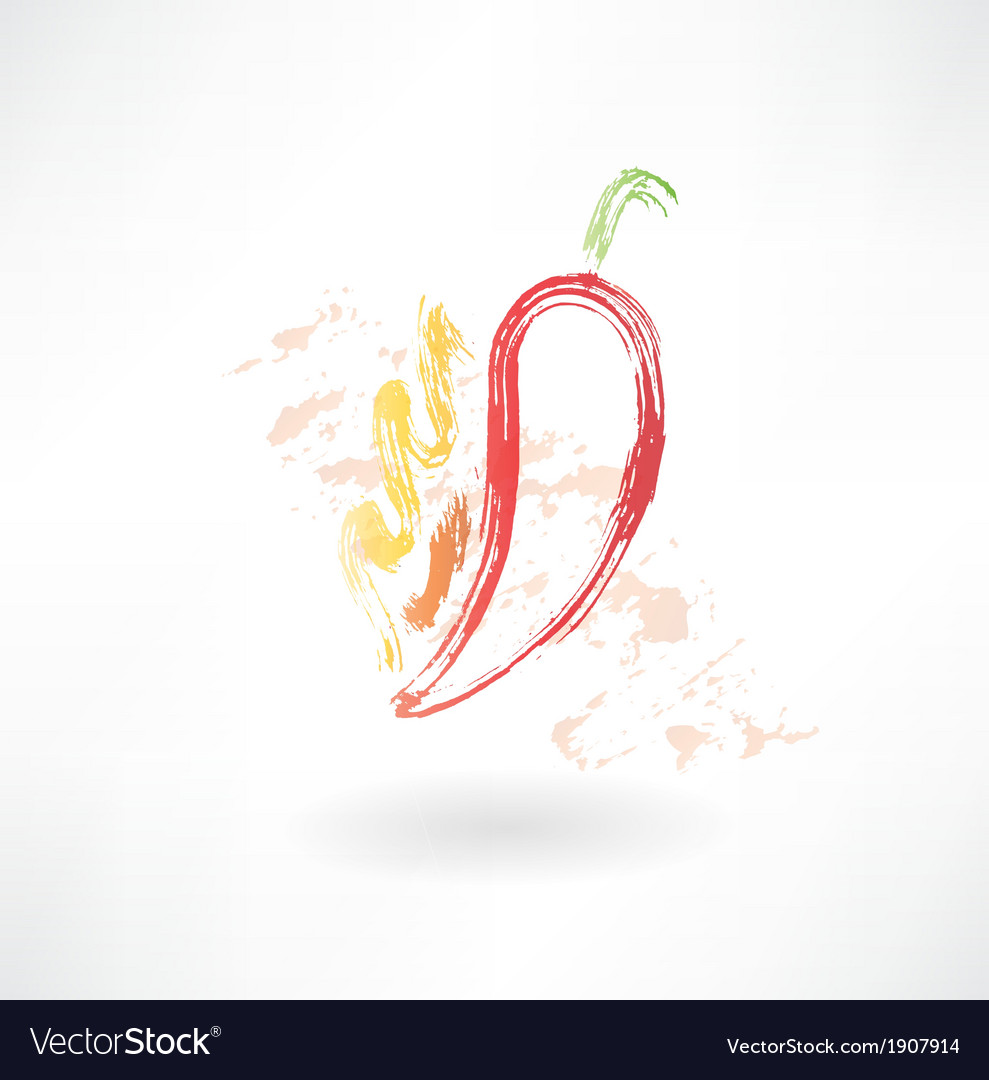Hot pepper grunge icon vector | Price: 1 Credit (USD $1)