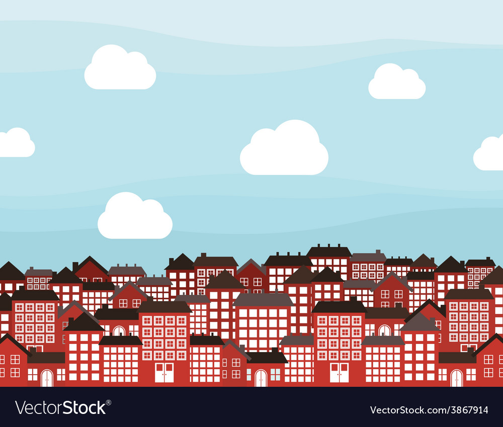 Many storeyed city vector | Price: 1 Credit (USD $1)