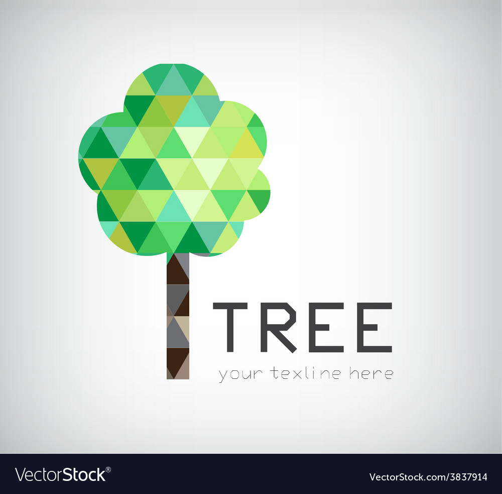Modern crystal tree logo eco organic icon vector | Price: 1 Credit (USD $1)