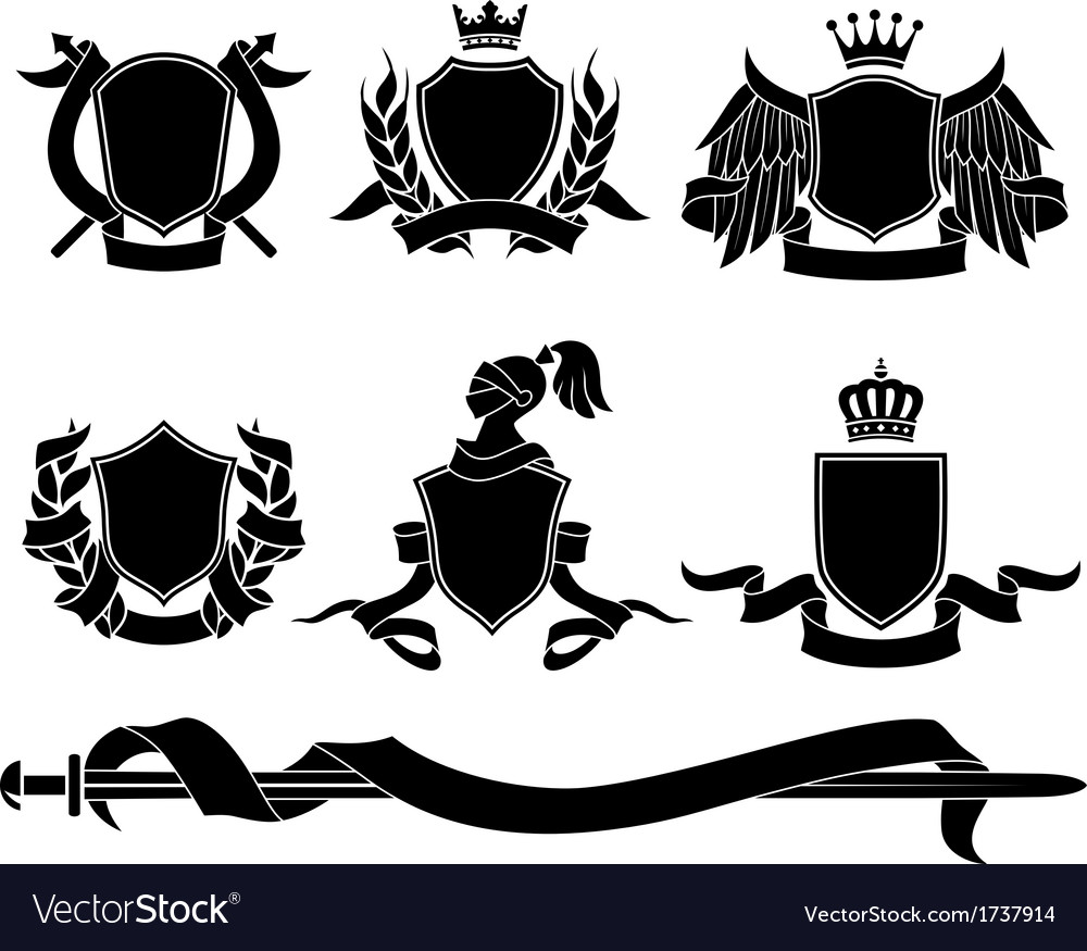 Set of heraldic black emblems vector | Price: 1 Credit (USD $1)