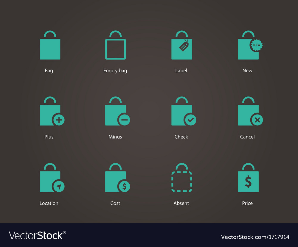 Shopping bag icons vector | Price: 1 Credit (USD $1)
