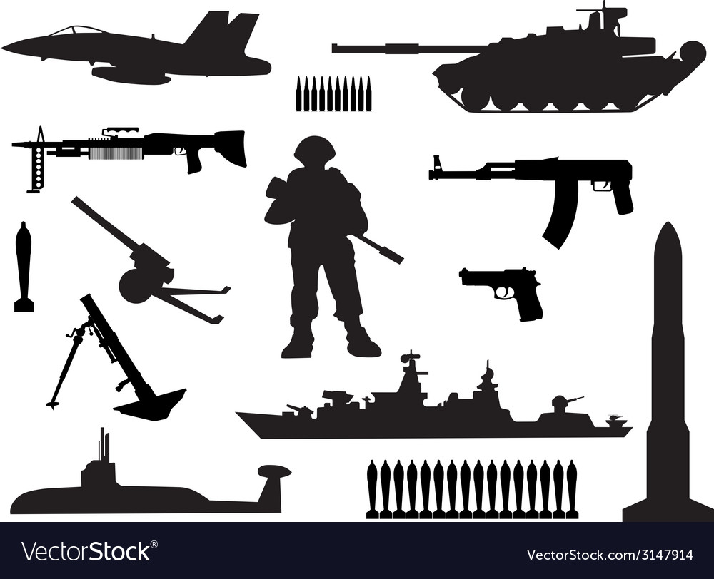 Silhouettes of armed forces vector | Price: 1 Credit (USD $1)