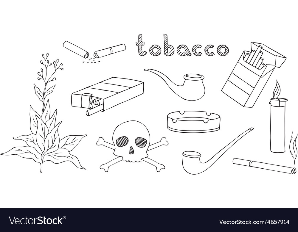 Tobacco and smoking set vector | Price: 1 Credit (USD $1)