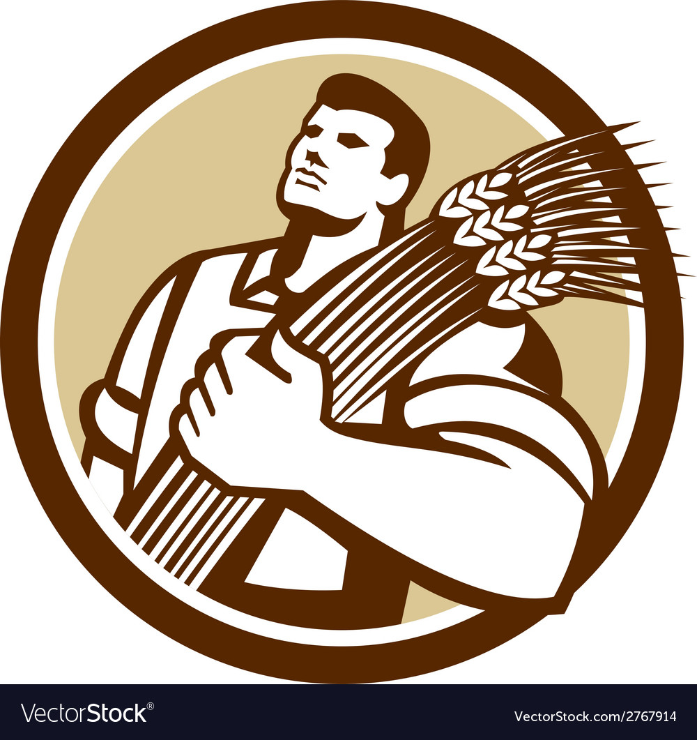 Wheat farmer looking up circle retro vector | Price: 1 Credit (USD $1)
