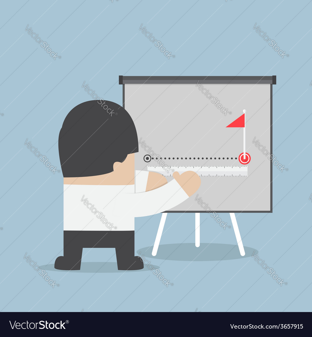 Businessman try to measuring path to success vector | Price: 1 Credit (USD $1)