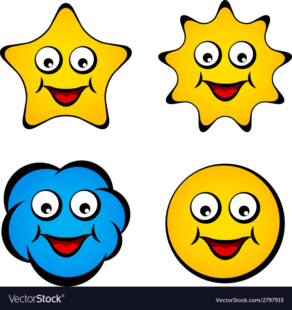 Cartoon smiling face star sun cloud smiley vector | Price: 1 Credit (USD $1)