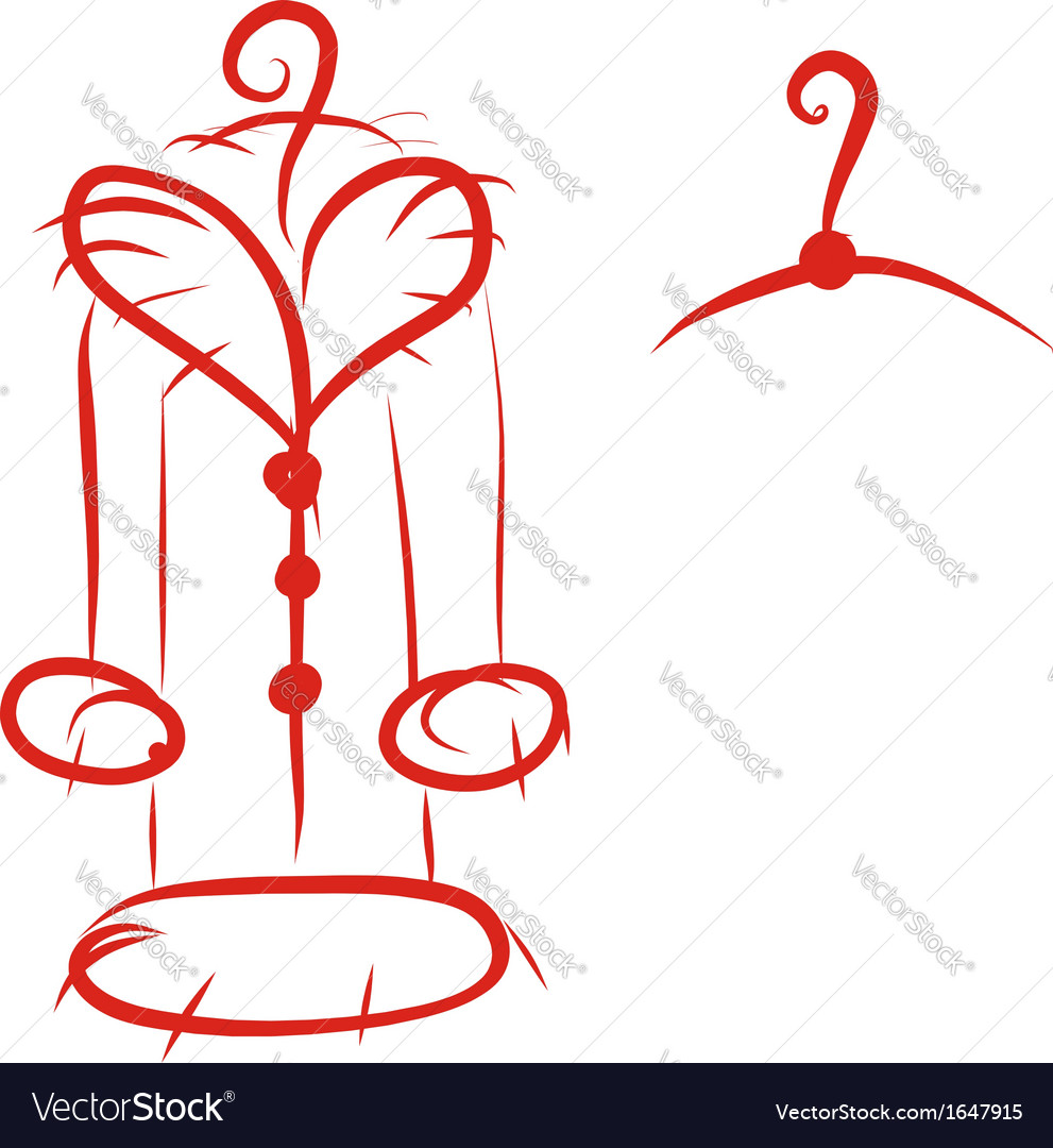 Coat with fur collar on hanger sketch for your vector | Price: 1 Credit (USD $1)