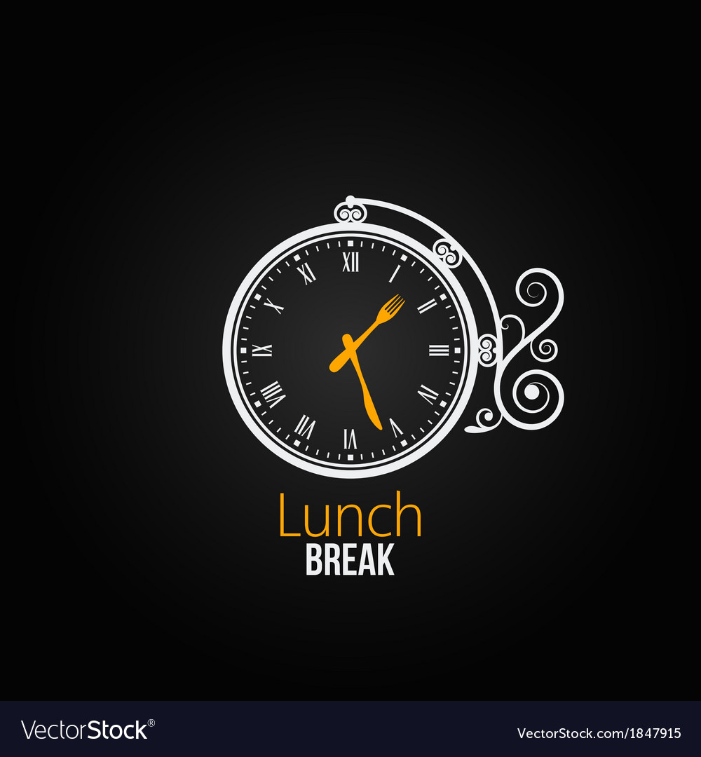 Lunch clock concept design background vector | Price: 1 Credit (USD $1)