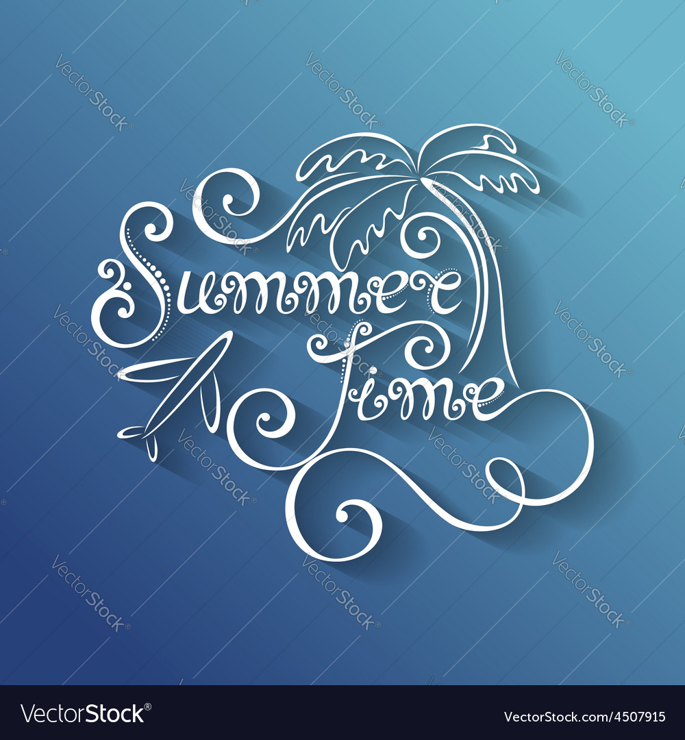 Name of season of the year summer time inscription vector | Price: 1 Credit (USD $1)