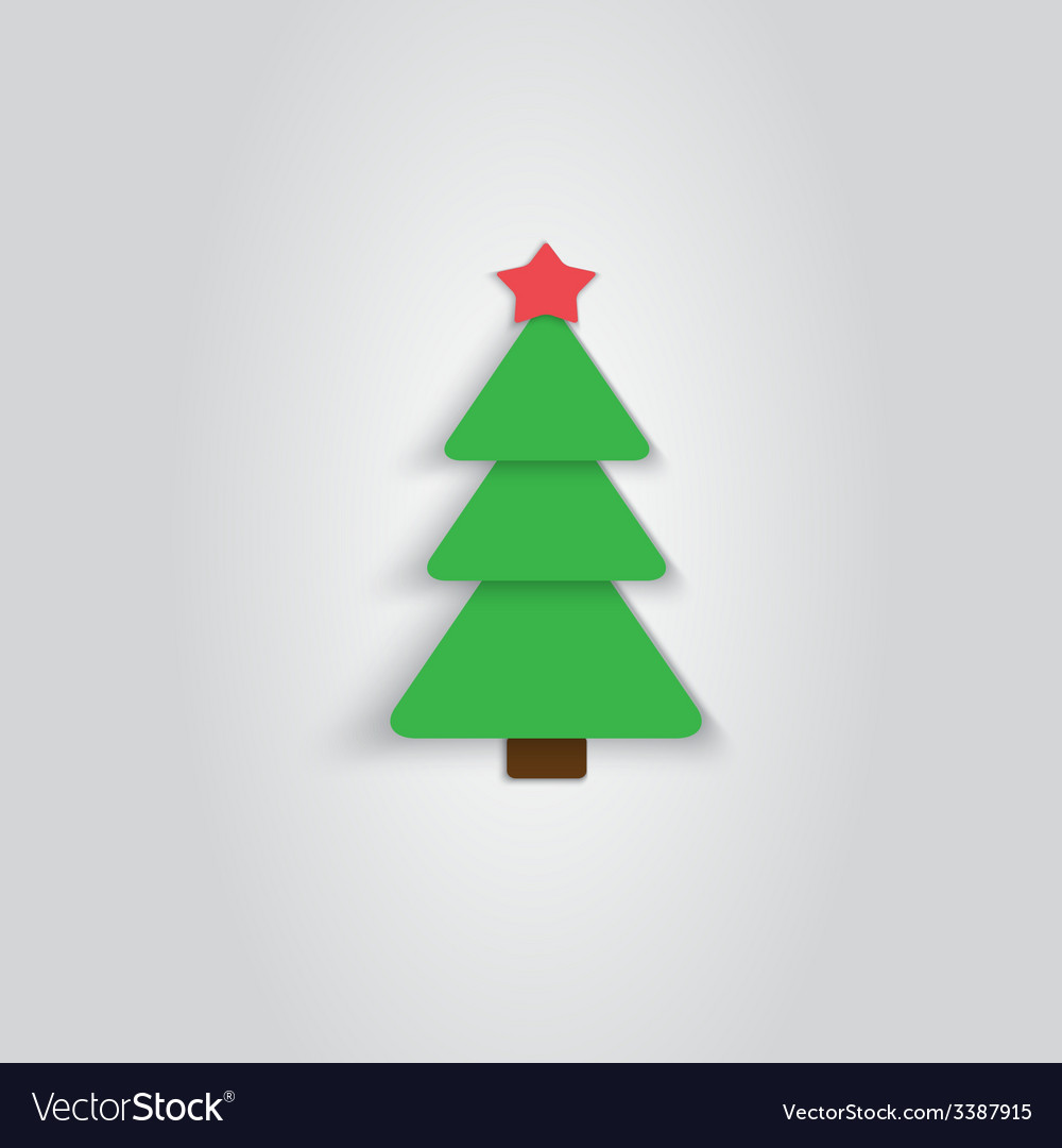 Paper christmas tree icon new year flat style vector | Price: 1 Credit (USD $1)