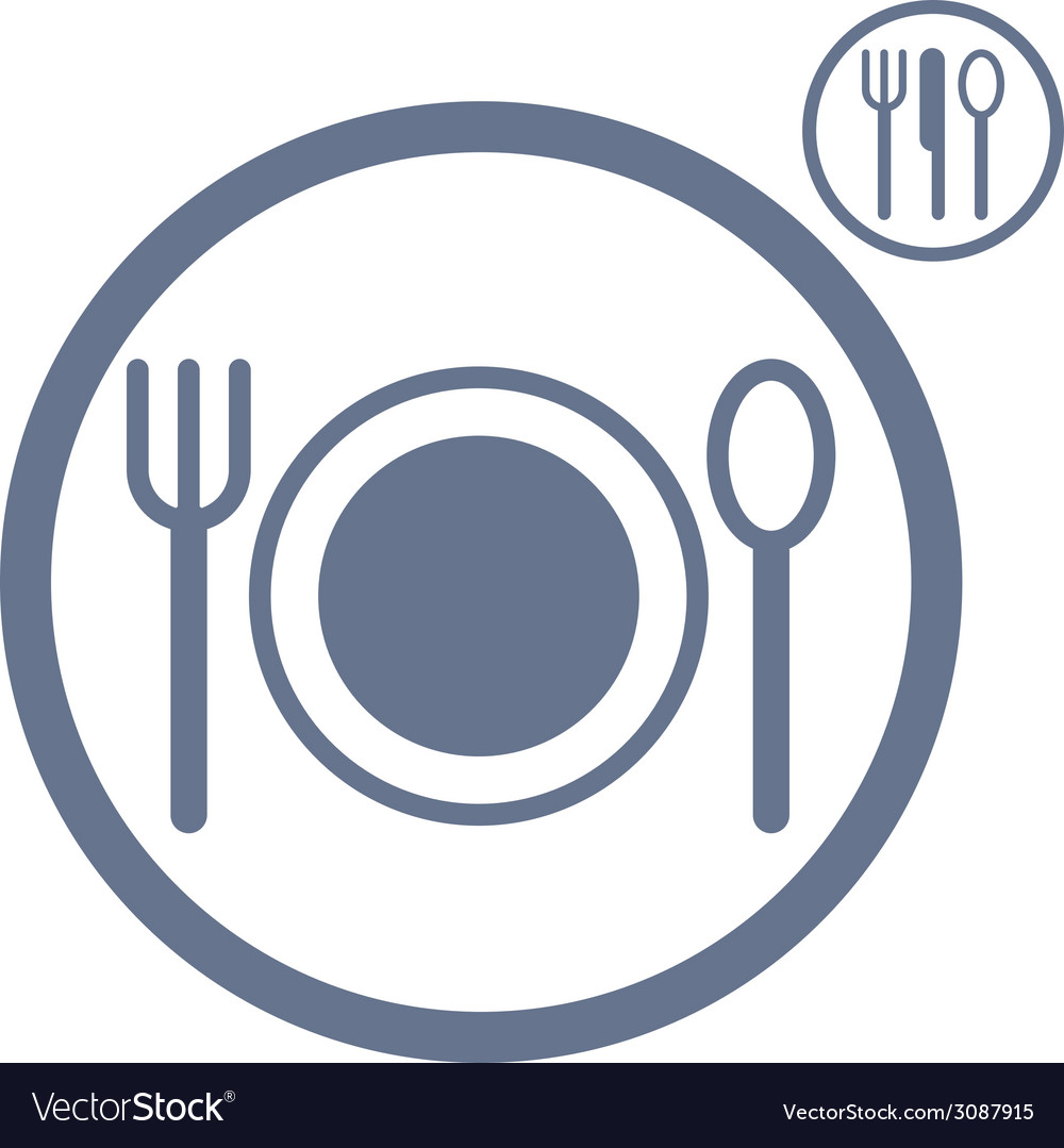 Plate fork and spoon icon vector | Price: 1 Credit (USD $1)