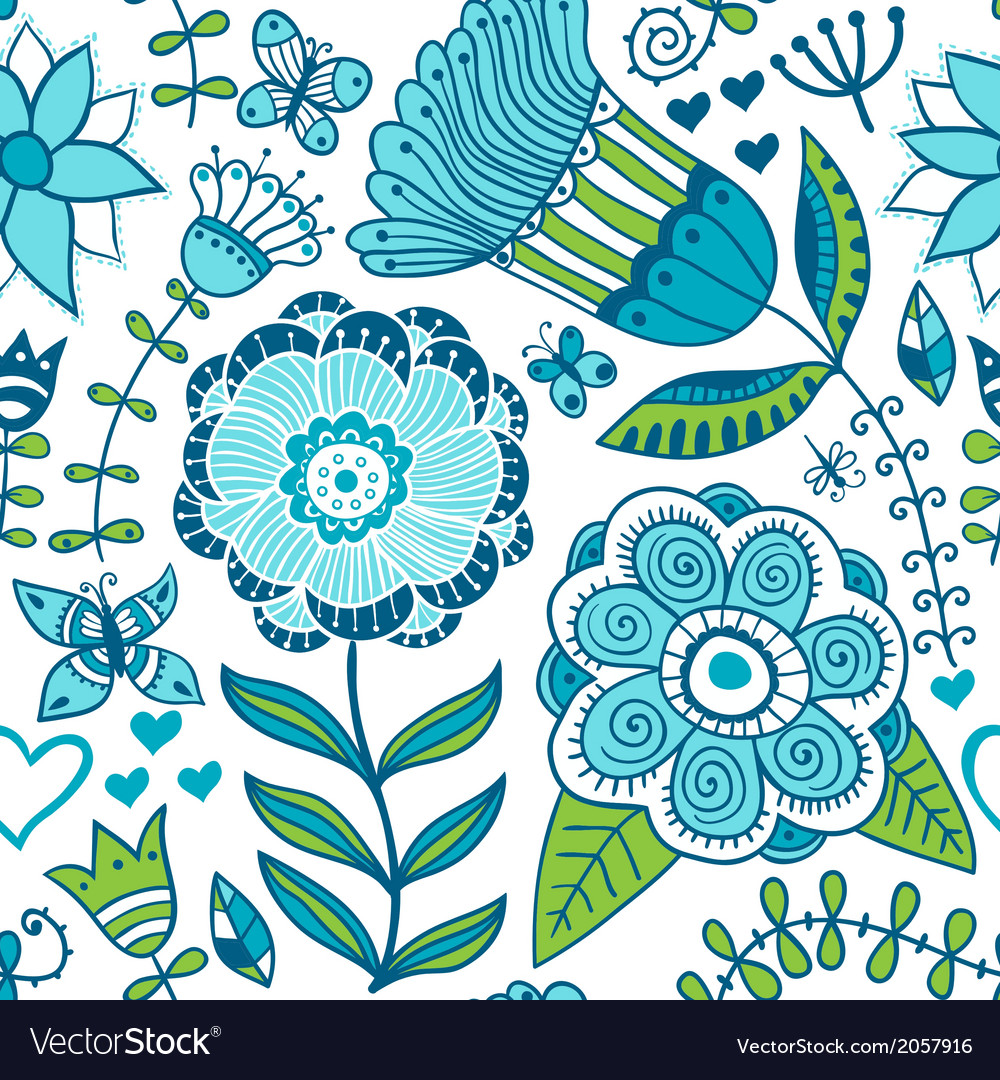 Abstract floral background summer theme seamless vector | Price: 1 Credit (USD $1)