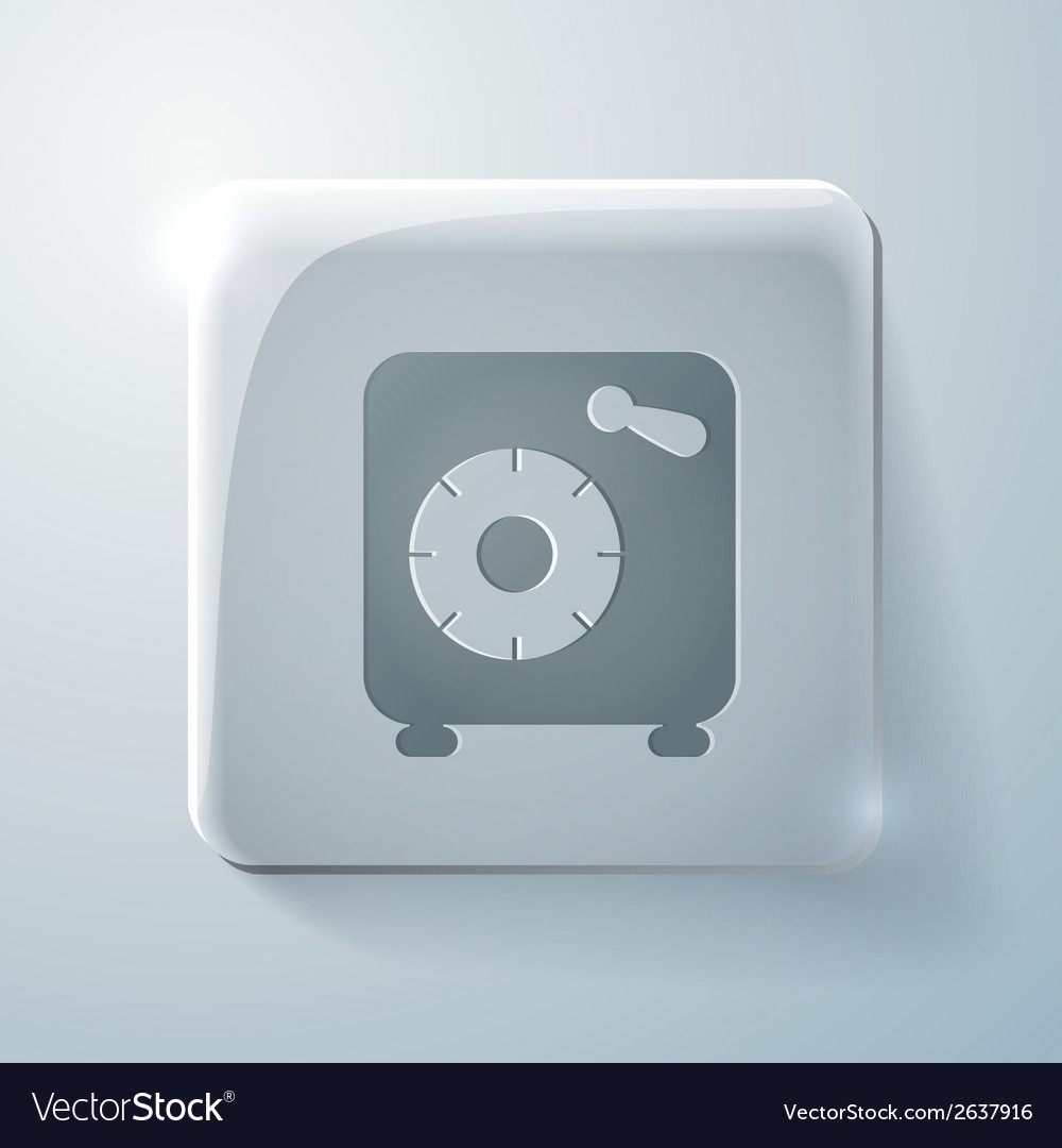 Bank vault glass square icon with highlights vector | Price: 1 Credit (USD $1)