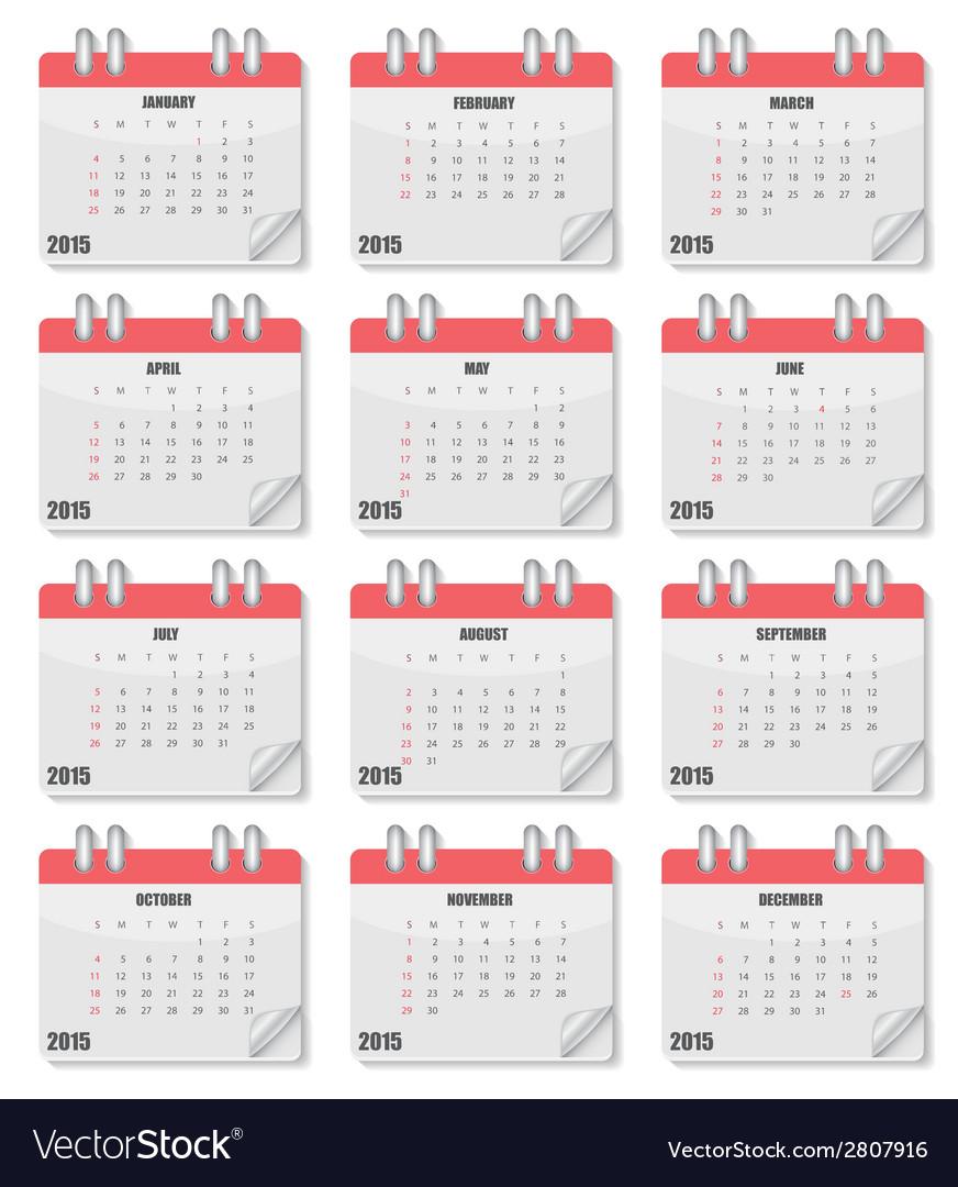 Calendar 2015 year vector | Price: 1 Credit (USD $1)