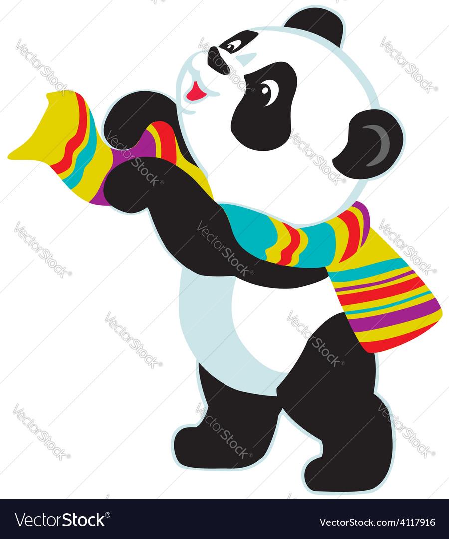 Cartoon panda bear wearing scarf vector | Price: 1 Credit (USD $1)