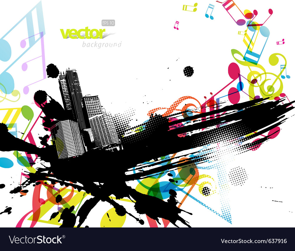 City with colored tunes vector | Price: 1 Credit (USD $1)