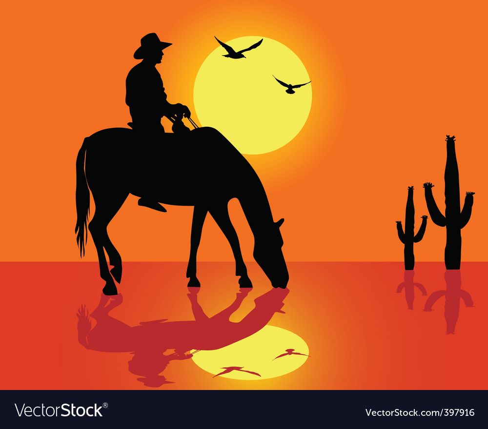 Cowboy silhouette vector | Price: 1 Credit (USD $1)