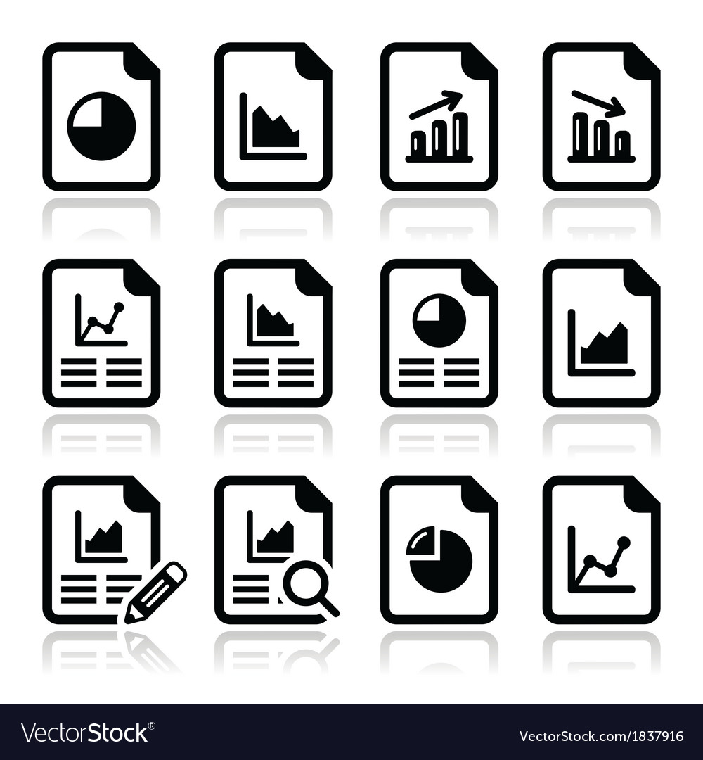 Document with pie chart graph icons set vector | Price: 1 Credit (USD $1)