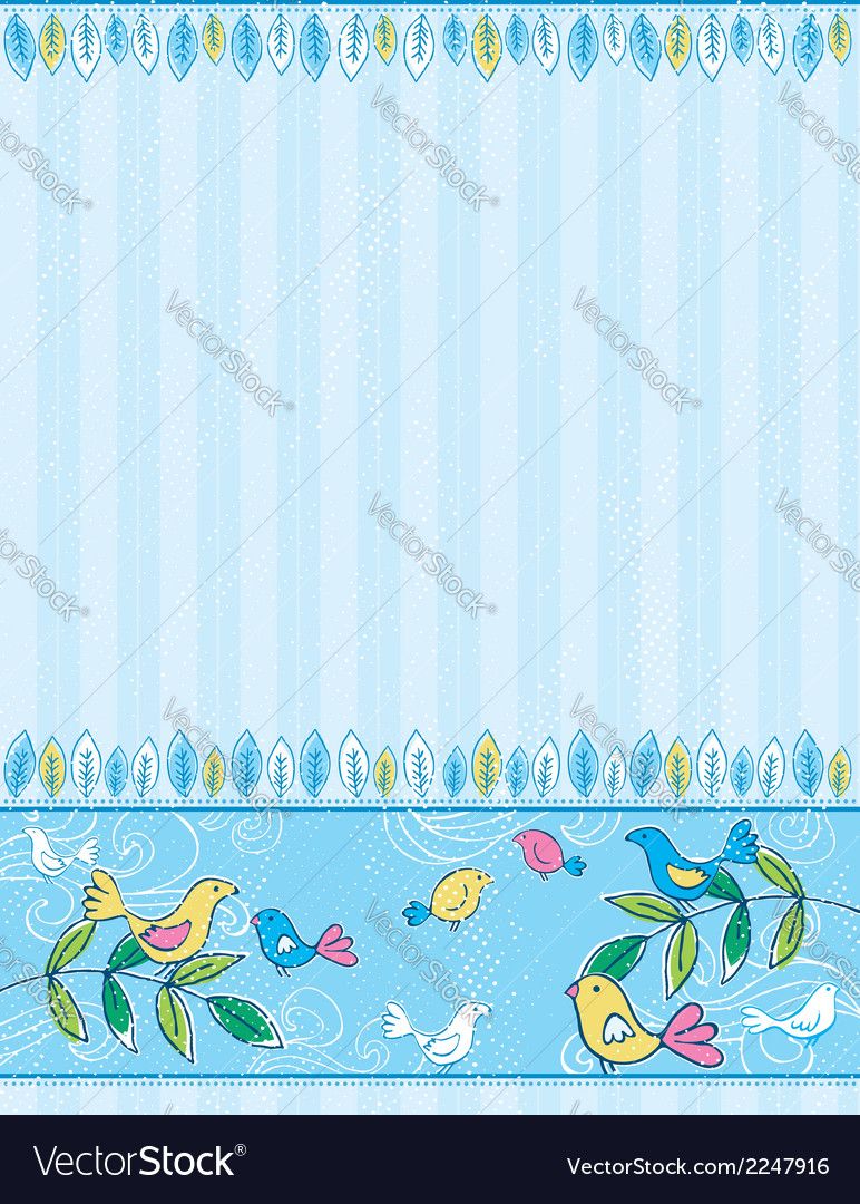 Hand draw birds on grunge striped blue background vector | Price: 1 Credit (USD $1)