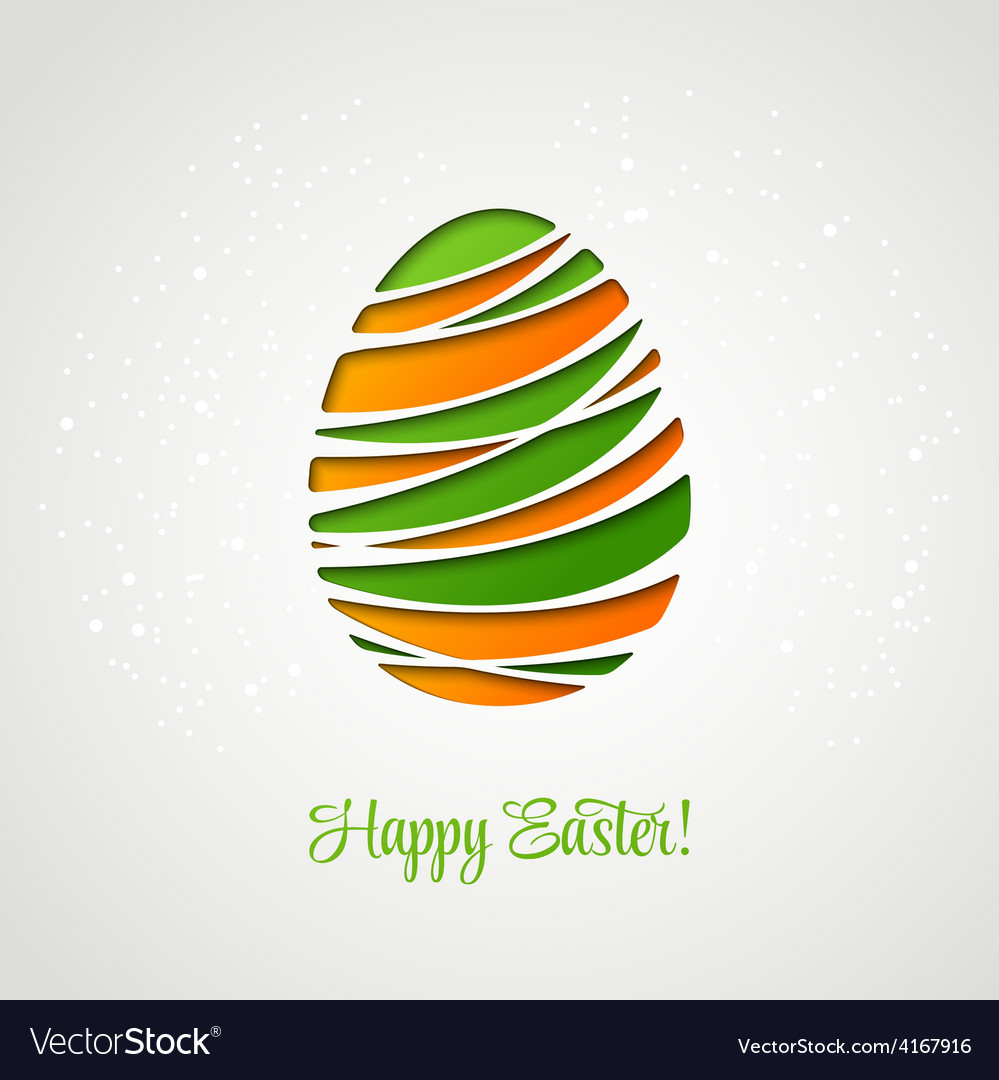 Happy easter card decorated paper egg vector | Price: 1 Credit (USD $1)