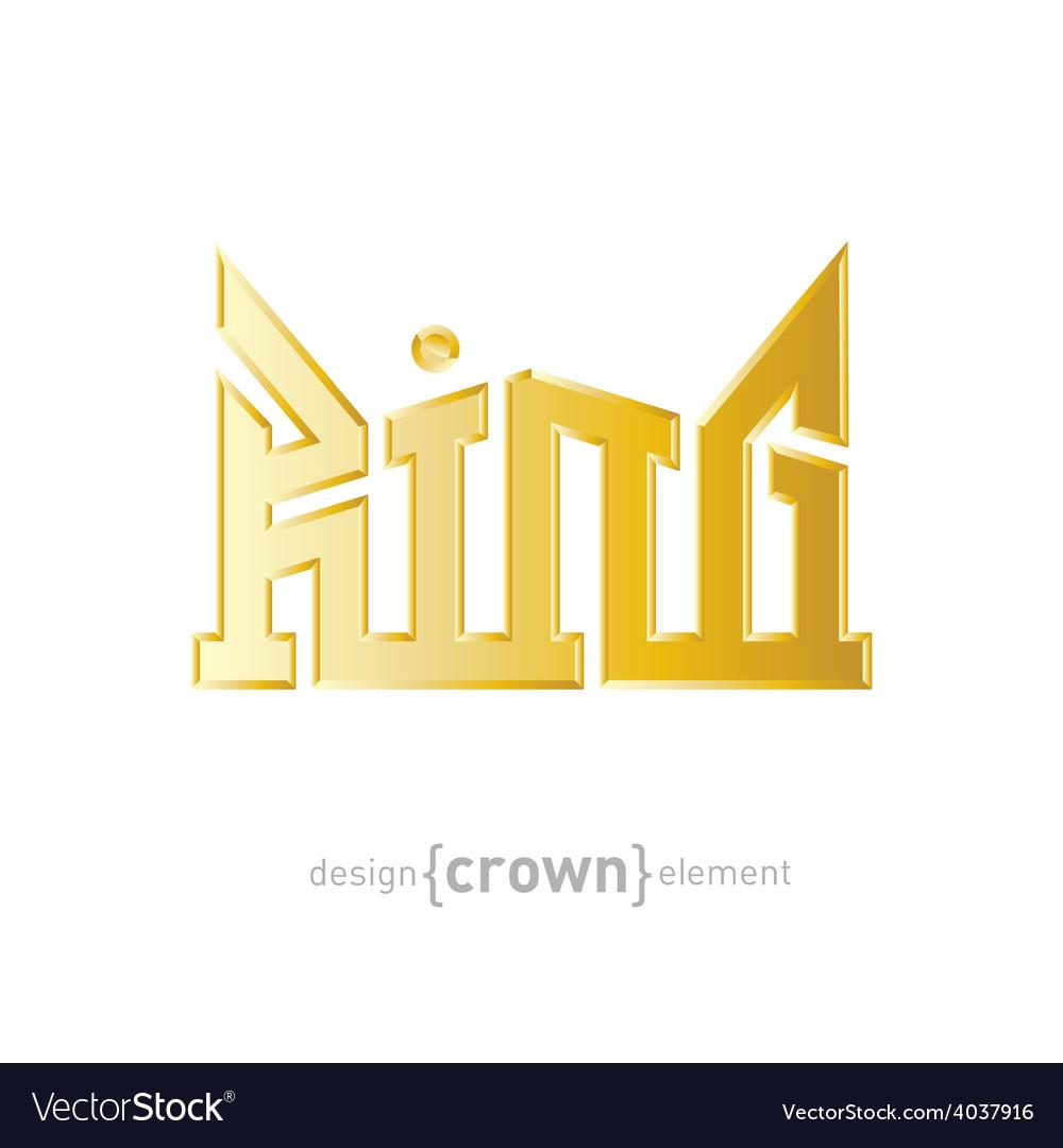 Luxury golden king crown design element on white vector | Price: 1 Credit (USD $1)