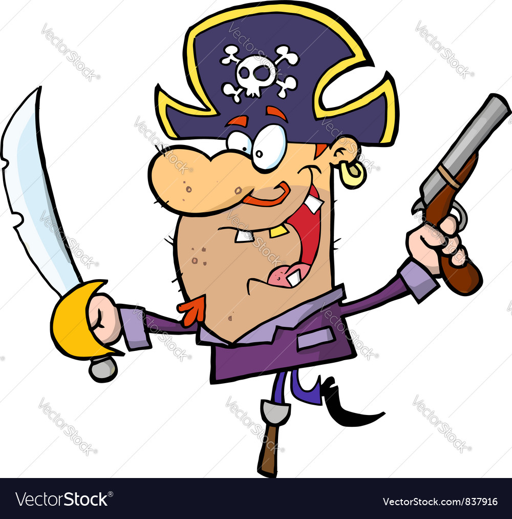 Pirate brandishing sword and gun vector | Price: 1 Credit (USD $1)